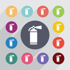 fire extinguisher circle, flat icons set