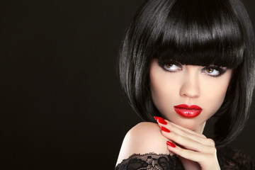 Stare. Fashion model girl face, beauty woman make up and red man