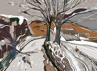 cyfrowe malarstwo krajobraz zimowy