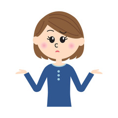 I don't know. An illustration of a young woman shrugging.