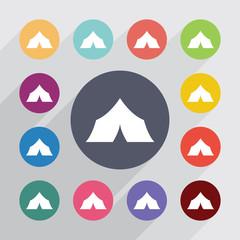 tent circle, flat icons set
