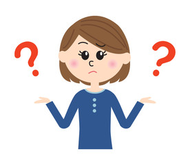 I don't know. A young woman shrugging with question marks.