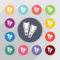 flippers circle, flat icons set
