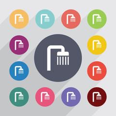 shower circle, flat icons set