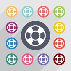 lifebuoy circle, flat icons set