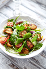 Chicken and vegetable salad with fresh herbs