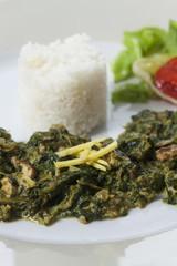 indisches Spinat-Curry mit Basmatireis