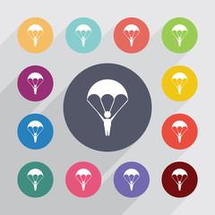 parachutist circle, flat icons set