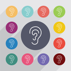 ear outline circle, flat icons set