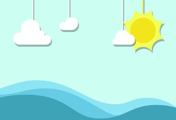 Sea on sky with sun. Illustration.