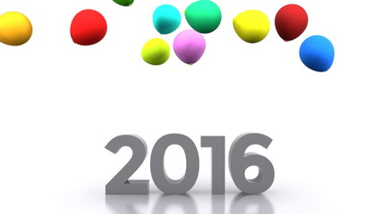 New Year with colorful balloons - video animation 2016