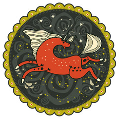 Red galloping unicorn on decorative background