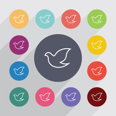 dove outline circle, flat icons set