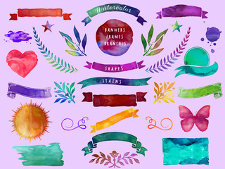 Watercolor Banners, Frames, Branches and Shapes