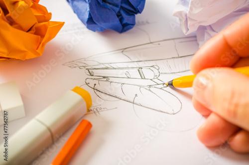 Leinwandbild Motiv Designer zeichnet