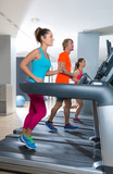 Gym treadmill group running indoor - 77562914