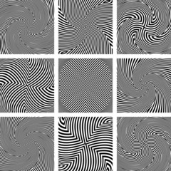 Rotation and twisting movement. Abstract textures set.