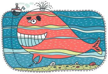 Unusual red whale keeps a small boat
