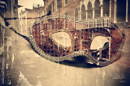Fotobehang Venetie carnival of venice, double exposure