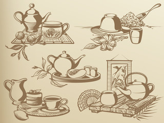 Tea Ceremony: Vintage Drawing Still-life