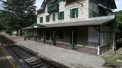 Shot of the trainstation,  made from the moving train