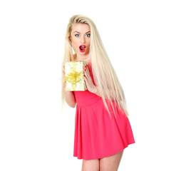 Blonde girl in a red dress with a gift.