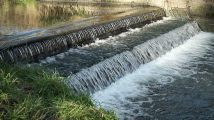 Weir on the Rea in Canon Hill park, Birmingham.
