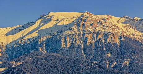 Bucegi mountains ridge at sunset, Romania.