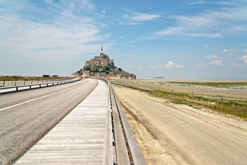 Highway leading to Mont St Michel, Normandy