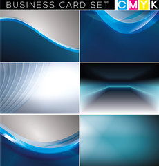 Business cards set, abstract backgrounds. (CMYK color mode.)