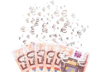 50 euro banknote dissolving as a concept of economic crysis