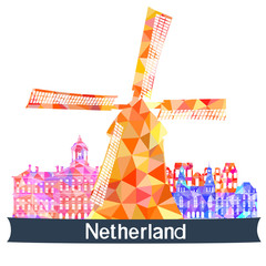 Sights Netherlands, vector illustration