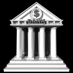 3D bank building isolated on black background.