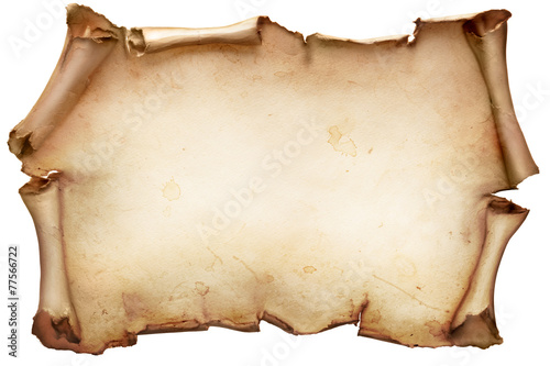 Leinwanddruck Bild Vintage paper scroll isolated on white