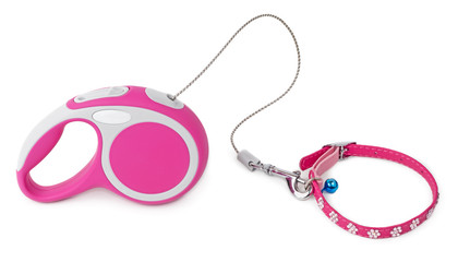 Pink leash for dog with collar