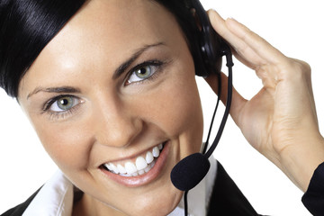 Young nice call operator woman on a white background