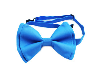 Blue bow tie close up on white isolated