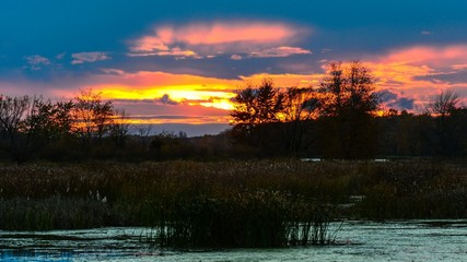 Marsh Sunset - 4K Time Lapse