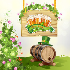 Wood banner with clover, beer and barrel