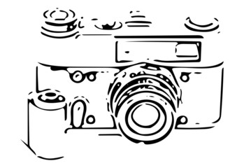 retro SLR camera sketch with 35mm film reel isolated