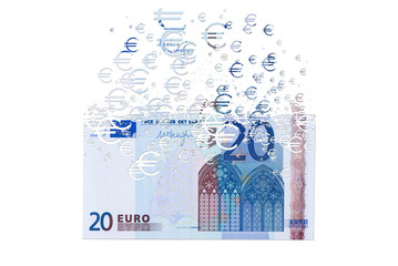 20 euro banknote dissolving as a concept of economic crysis