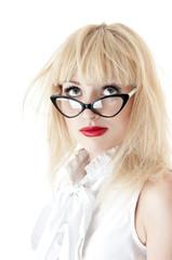 Portrait of funny  businesswoman wearing glasses on white backgr