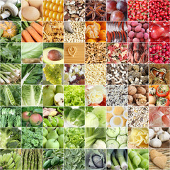 Food collage with color arrangement