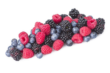 Group of berries close up on white background