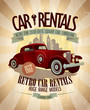Retro car rentals design.