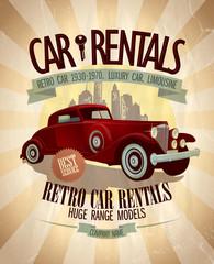 Retro car rentals design.