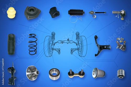 Leinwanddruck Bild Suspension and steering parts