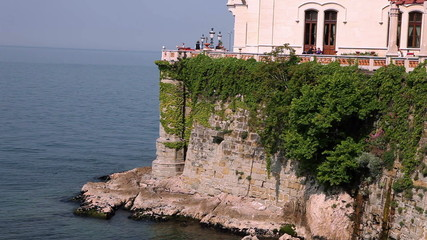 Shot of the castle on the cliff cowered with ivy