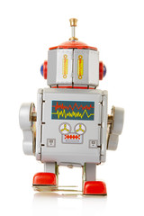 Robot vintage toy back on white, clipping path