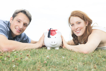 money, outside, finance and relationships concept - smiling